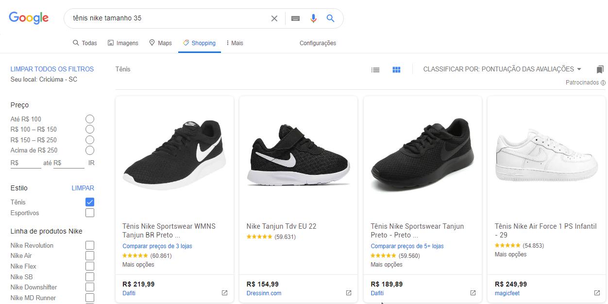 anúncio Google Shopping tênis nike tamanho 35