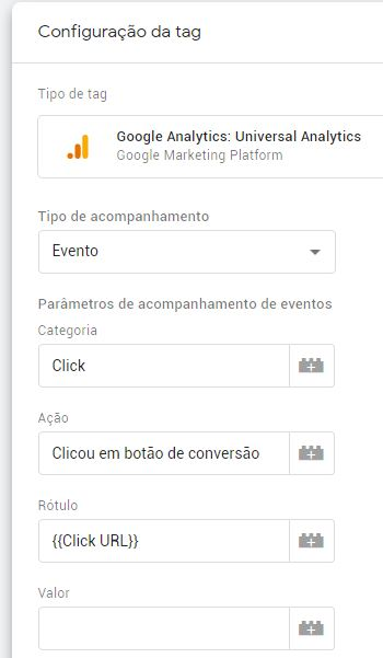 Parâmetros de metas do Google Analytics