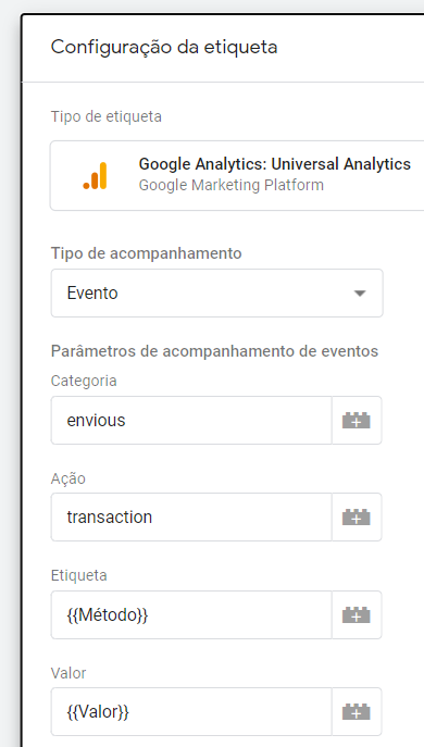 etiqueta de evento no google analytics