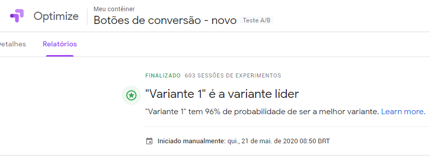 teste do Google Optimize