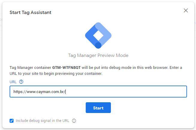 página inicial do tag assistant