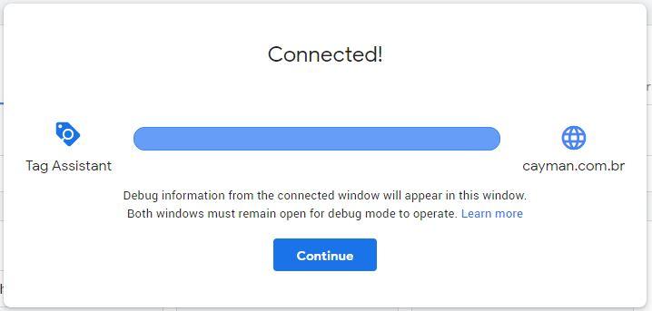 conexão com google tag assistant