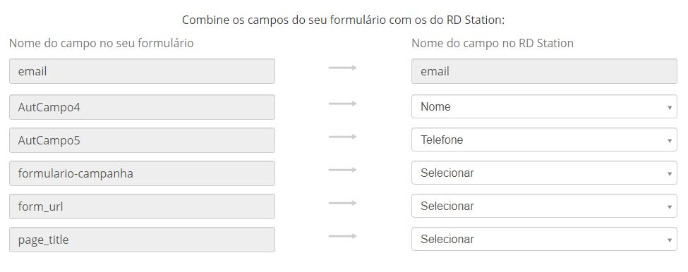 campos de integração de formulário do rd station