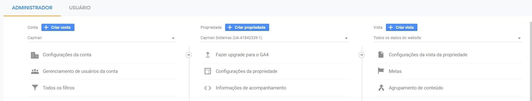 Criar propriedade no Google Analytics